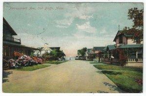 Oak Bluffs, Massachusetts, Vintage Postcard View of Narragansett Ave., 1909
