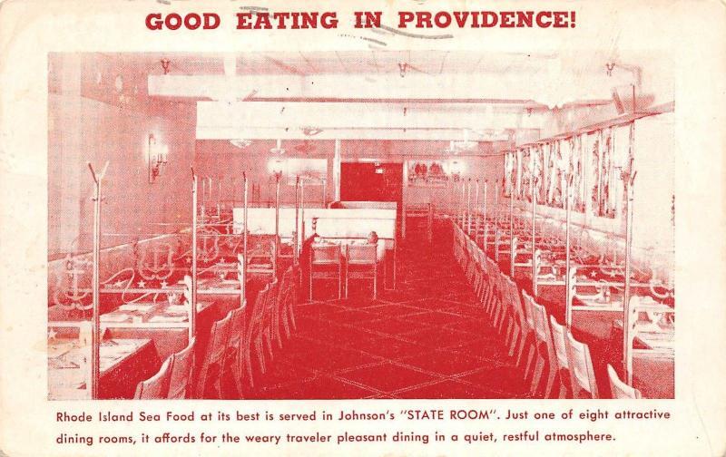 RHODE ISLAND RI Postcard 1951 PROVIDENCE Johnson's HUMMOCKS Sea Food GRILL