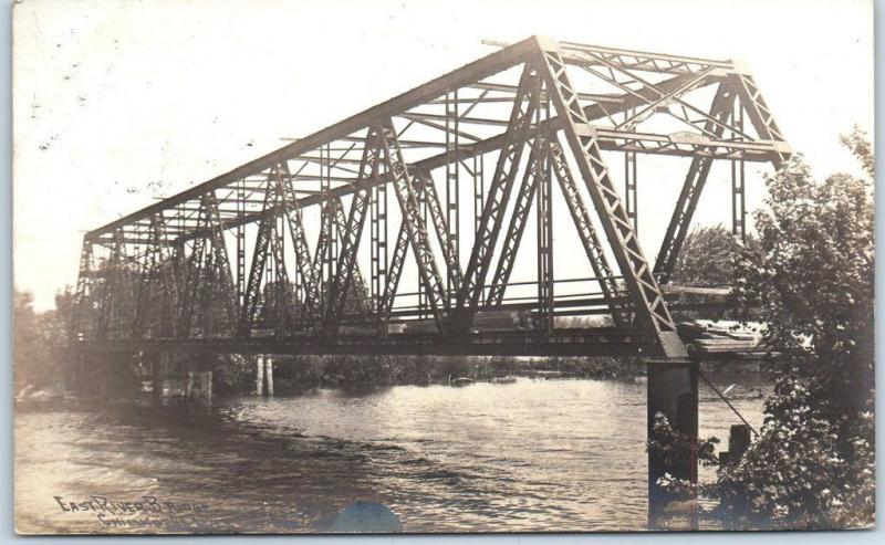 Chillicothe, Illinois RPPC Real Photo Postcard EAST RIVER BRIDGE w/ 1907 Cancel