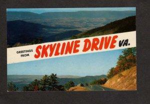 VA Greetings From The Skyline Drive Virginia Postcard Blue Ridge Waynesboro