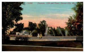 18373   MO Kansas City  Fountain 15th and Paseo, 2  girls sitting