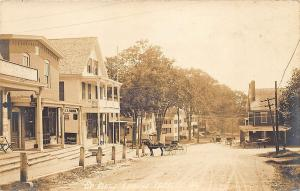 Epping NH Dirt Street View Store Fronts Horse & Wagons RPPC Postcard