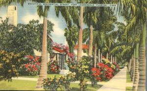 Beautiful Residential Street - Fort Lauderdale FL, Florida - pm 1945 - Linen