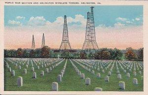 Arlington VA, National Cemetery, World War I Section, ca. 1925, Radio Towers WWI