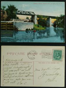 Rideau canal on Line of GTR Rideau Ont pmk1908 Hamilton