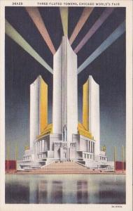 Three Fluted Towers Chicago World's Fair Curteich