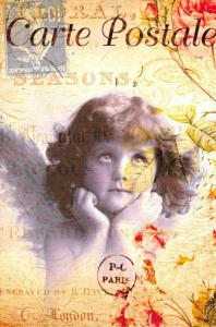 Postcard French Vintage Shabby Chic Style Pretty Girl, Angel, Wings, Floral 73J
