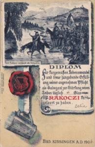 Germany Bad KIssingen diplom Rakozzi 1906