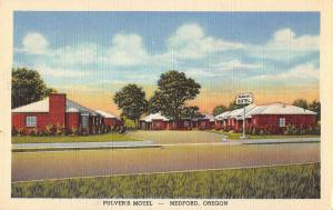 Medford Oregon birds eye view Pulvers Motel entrance linen antique pc Y14720