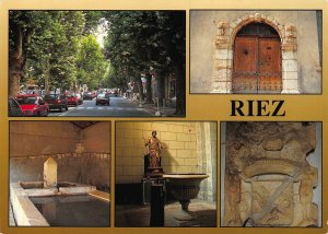 France Riez Alpes de Hte Provence Fountain Portal Street Cars Postcard
