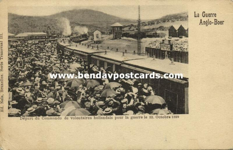 BOER WAR, Departure of Dutch Volunteers Commando by Steam Train (1899)