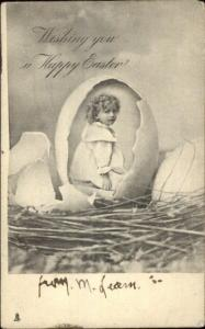 Easter Child in Cracked Egg TUCK #1661 b&w c1905 Postcard
