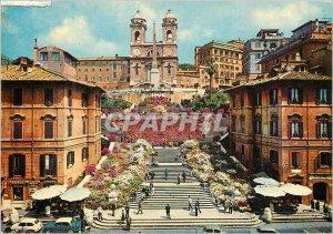 Postcard Modern Rome Spanish Steps and Trinita dei Monti