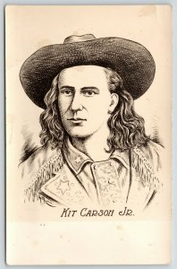 Wild West Shows~Kit Carson Jr~Crack Shot~Artist Drawn~Real Photo Postcard