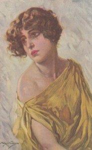 Art Deco Female Portrait , Woman in Yellow , 00-10s