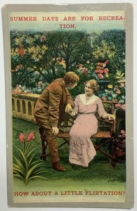 Old Divided Back Postcard Summer Days For Recreation How About Little Flirtation