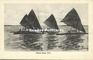 fiji islands, Canoe Race (1910s) Robbie and Company