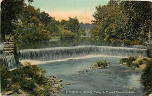 Greenfield Massachusetts~Wiley & Russell Dam And Falls~1918 Postcard