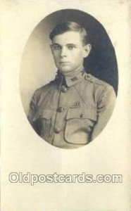 Earle E Houser WWI Real Photo Military Soldier in Uniform Writing On Back wri...