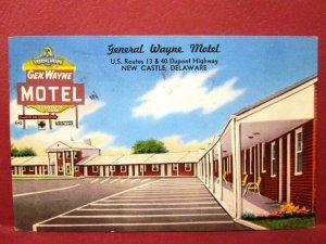Postcard DE New Castle General Wayne Motel