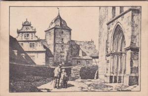 Germany Schlitz Westportal der Kirche mit Vorderburg 1937