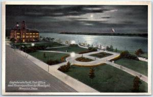 Memphis TN Postcard Conf. Park, Post Office & Mississippi River by Moonlight