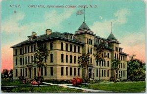 Fargo, North Dakota Postcard Ceres Hall, Agriculture College NDSU 1913 Cancel