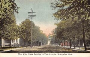 Montpelier Ohio~Homes on East Main Street~Leads to Fair Grounds~1909 Postcard