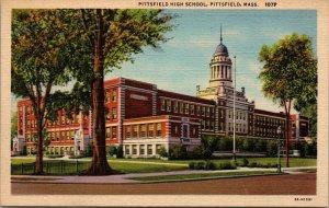 MA Pittsfield Massachusetts 1954 linen postcard Pittsfield High School UNPOSTED