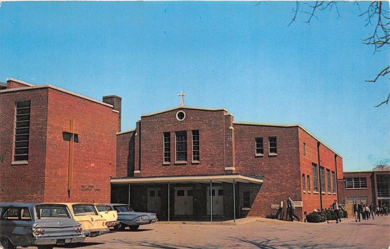 Dover Delaware~Holy Cross Church & School on S Bradford Street~Classic Cars~'50s