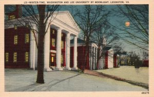 Lexington, VA, Washington & Lee University, Winter, Linen Vintage Postcard g8152