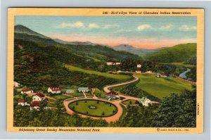 NC-North Carolina, Aerial, Cherokee Reservation, Smoky Mountains, Linen Postcard