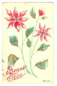 Hand painted Flower postcard, PU-1907