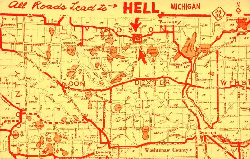 Hell Michigan Road Map Postcard~Lyndon~Dexter~Livingston~Pinckney