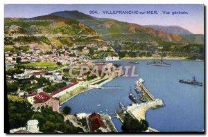Old Postcard Villefranche Sur Oceanview Generale
