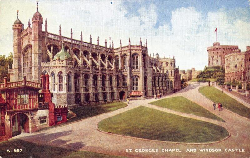 Postcard Art St. Georges Chapel and Windsor Castle by Valentines Art Colour #W