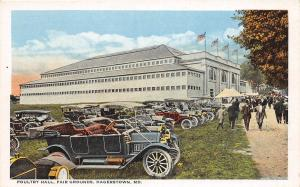 D93/ Hagerstown Maryland Postcard c1910 Fairgrounds Poultry Building Automobiles