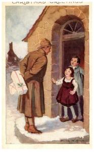 Christmas ,  WW1 Soldier giving gifts to children