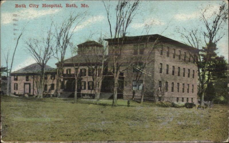Bath ME City Hospital c1910 Postcard