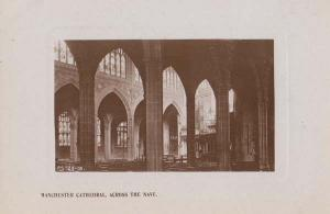 Manchester Cathedral Church 1918 WW1 Wartime Dated Real Photo Nave Postcard