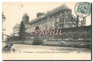 Old Postcard Bourges Cathedrale view of the Garden of Archeveche