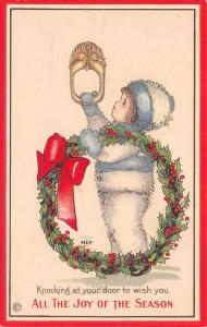 MEP Margaret Evans Price Christmas~Girl in Fur Snowsuit~Wreath~Door Knocker~738B