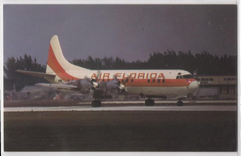 Air Florida Airlines L-188 Lockheed Electra Props Spinning Aircraft Postcard