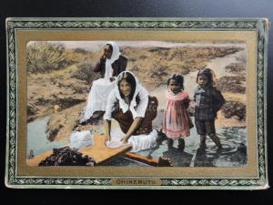 New Zealand MAORI LIFE, OHINEMUTU Washing In a Hot Pool c1910 Old Tucks Postcard