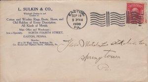 Easton PA - L SULKIN CO. - Rags, boots, shoes - 1908 COVER / Springtown Bingen
