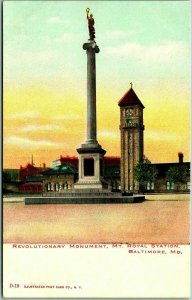 1900s Baltimore, Maryland Postcard REVOLUTIONARY MONUMENT, Mt. Royal Station