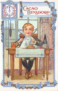 France Cacao Bensdorp Chocolate Boy Dining Advertising Postcard
