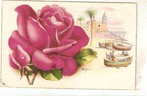 Beautiful rose with Marine Scene  Nice Spanish postcard 1960s