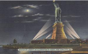 Statue of Liberty at night , N.Y.C., 30-40s