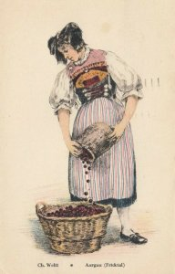 AARGUA, Frcktal, Switzerland, PU-1972; Woman pouring berries into large basket